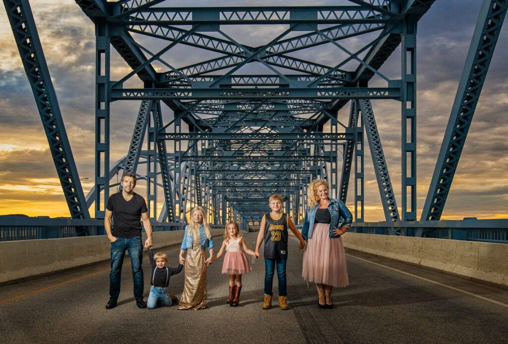 La Crosse WI Cass Street Bridge Family Photo