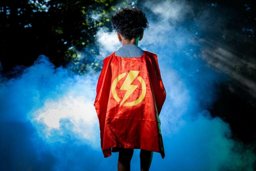 Kid in Superhero Costume