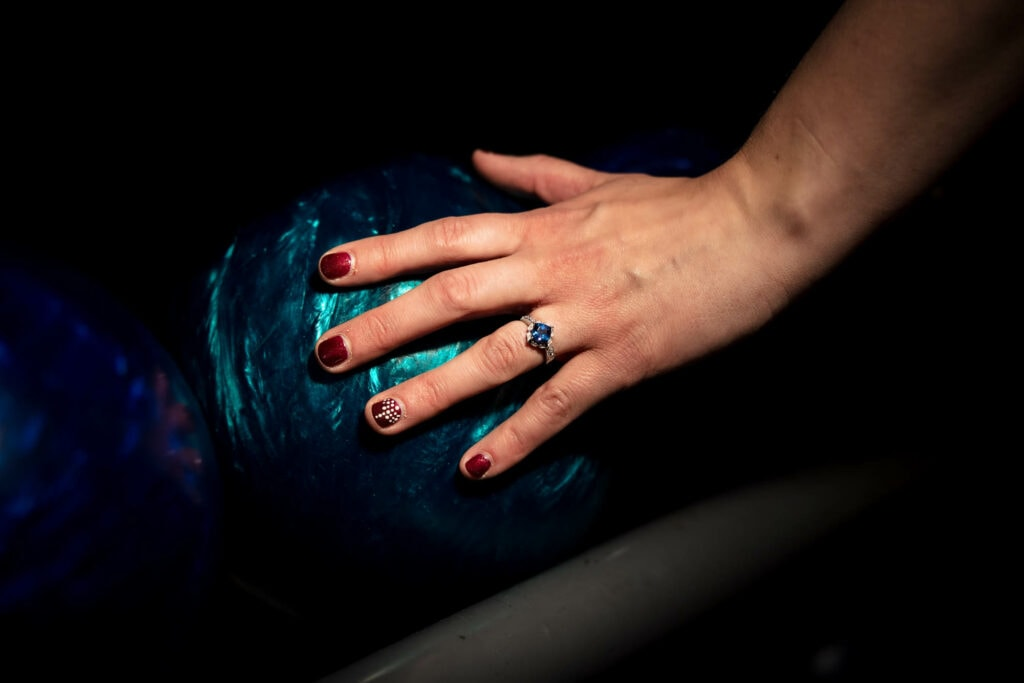 Wedding ring on bowling ball by La Crosse, WI Photographer Jeff Wiswell