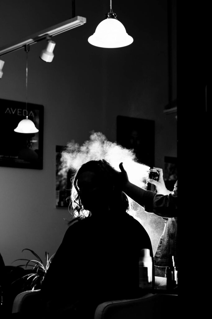 Hair spray lit up by La Crosse, WI Photographer Jeff Wiswell