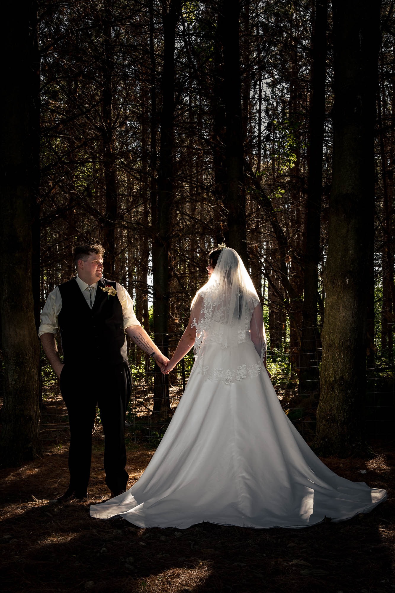 Bride in Forest by La Crosse, WI Photographer Jeff Wiswell